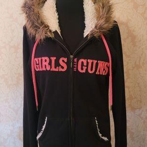 Girls With Guns Faux Fur Hoodie! (XL)